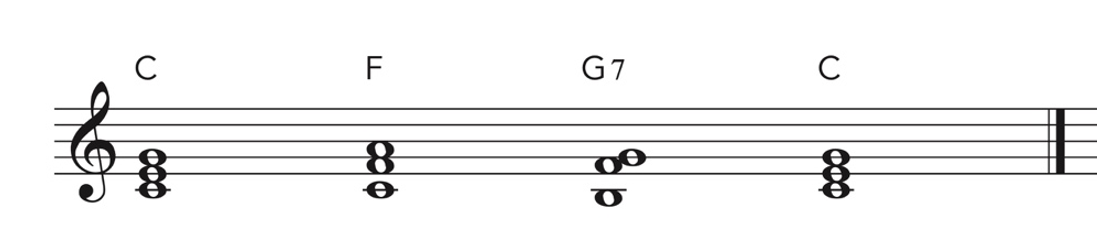 Piano skills and ear training exercise written in music notation