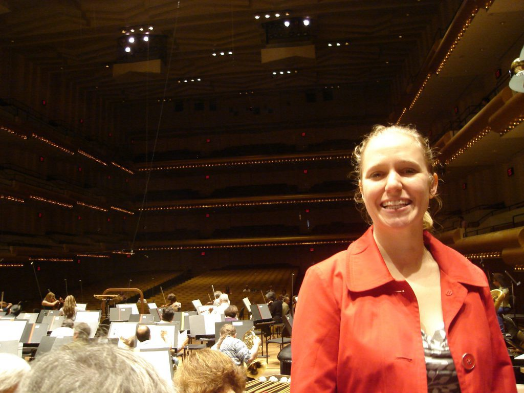 Brenda at Avery Fisher hall in New York, NY smiling