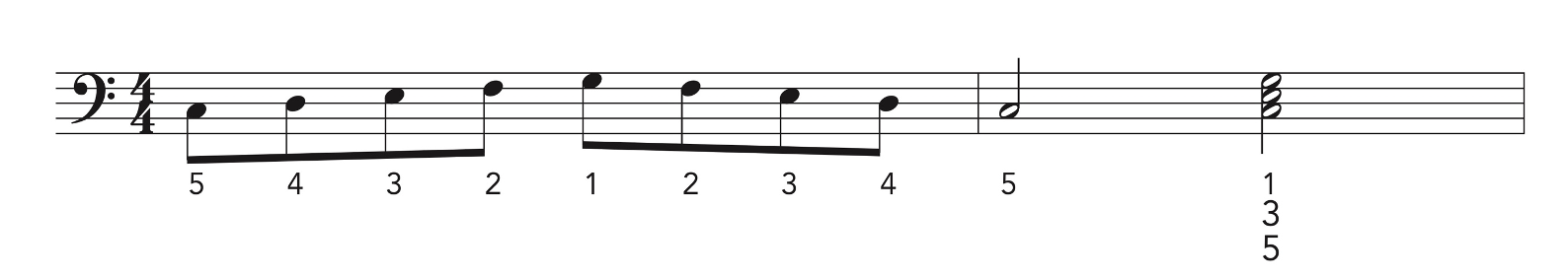 Left hand piano exercises written in music notation