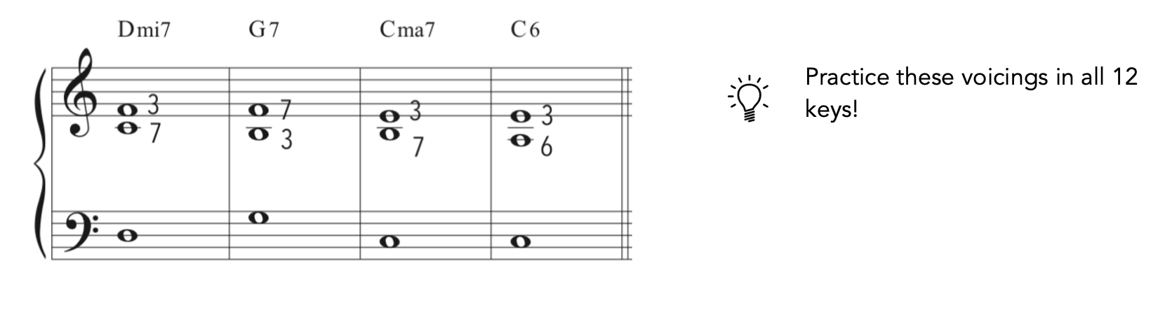 easy jazz piano voicings in piano notation