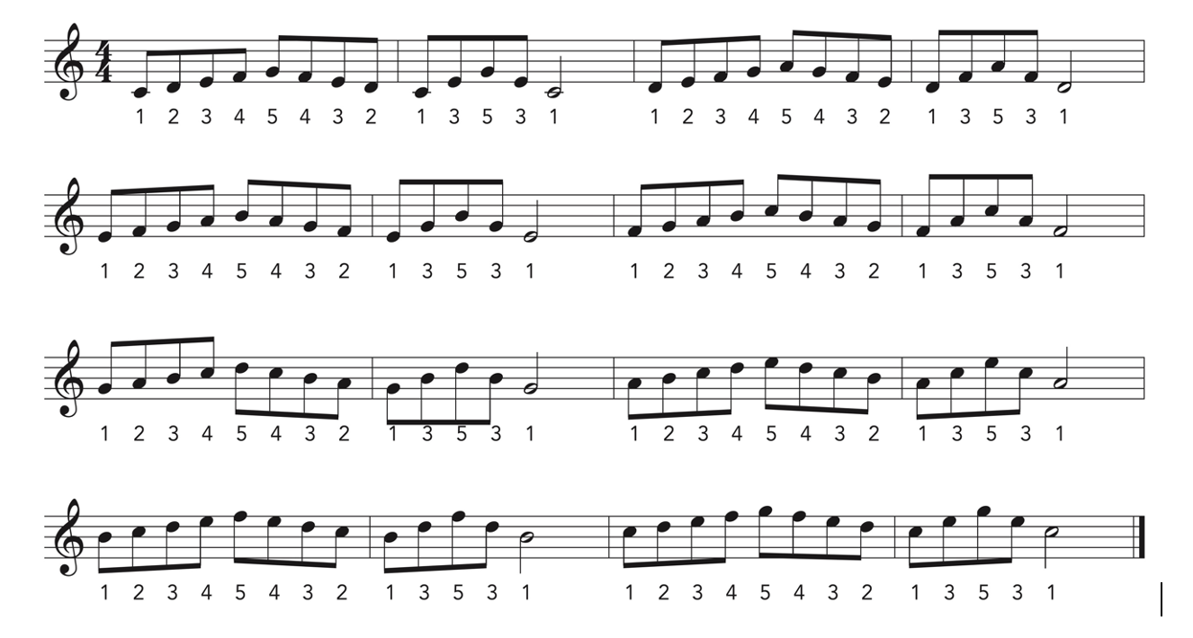 Piano Practice exercises written in music notation