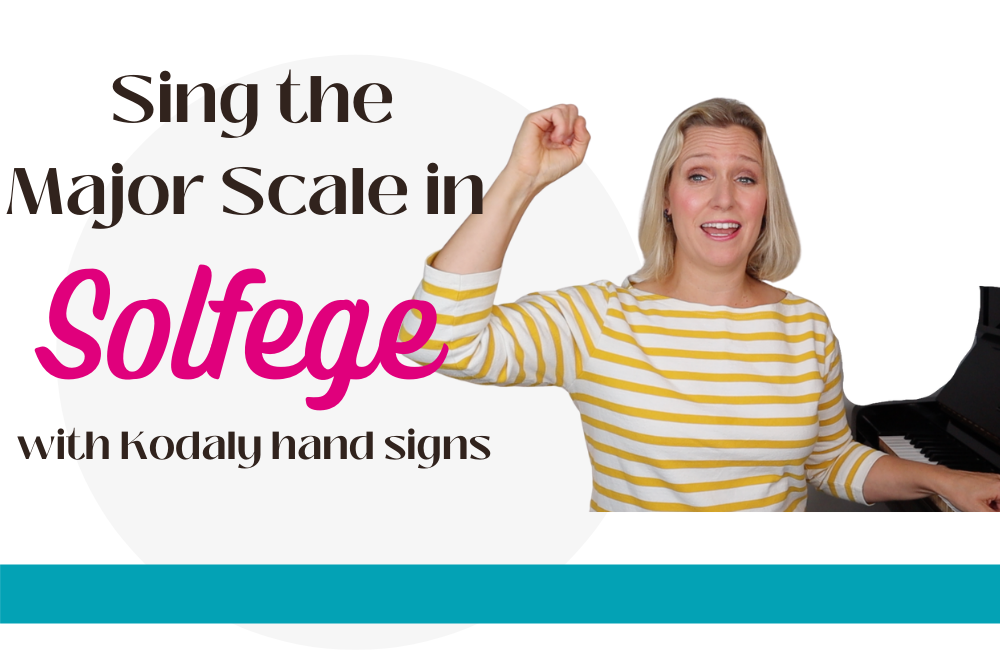 Singing major scale in solfege with kodaly hand signs