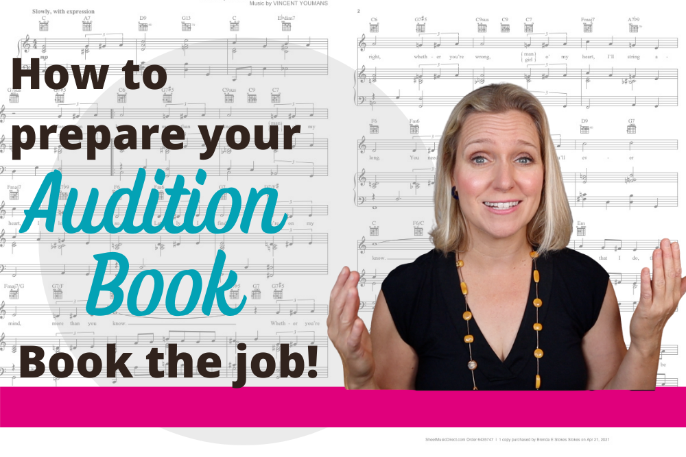 Brenda preparing audition book for music theater auditions